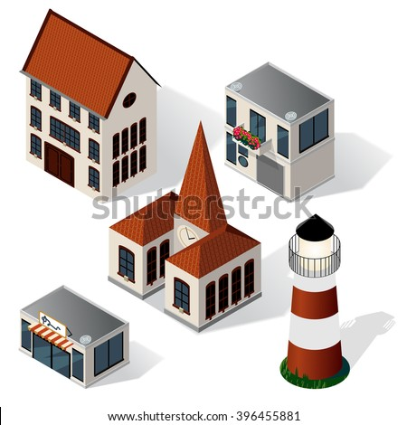 Vector isometric buildings set with shadows on white to create a little isometric city. - stock vector