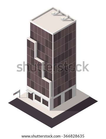 Vector isometric business center. City map building 3d element.