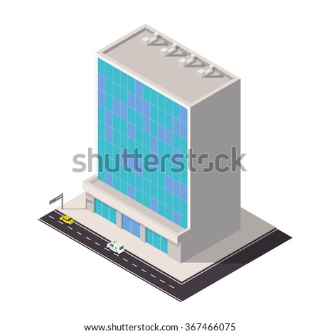 Vector isometric business center icon. City map building 3d element. - stock vector