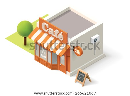 Vector isometric cafe building icon - stock vector