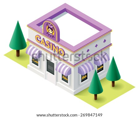 Vector isometric casino building icon - stock vector