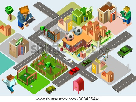 vector isometric city and buildings collection set with colorful style - stock vector