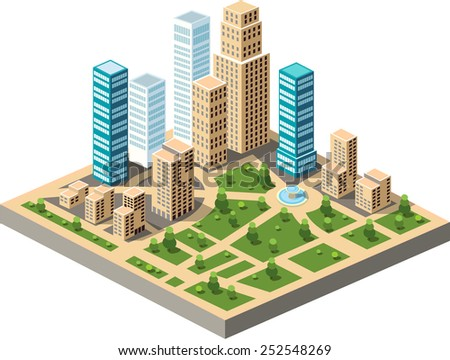 Vector  isometric city center on the map with lots of buildings, skyscrapers, factories, and parks. Picture in style flat - stock vector
