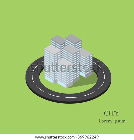 Vector isometric city inside the ring road.The road around the city. - stock vector