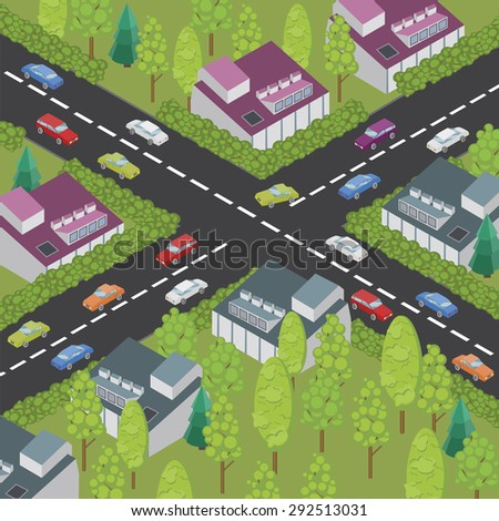 vector isometric color town and road