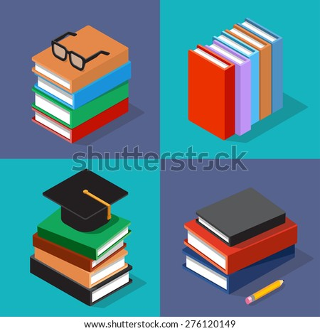 Vector isometric colorful books set. - stock vector
