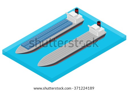 Vector isometric container ship at sea - laden and empty - stock vector