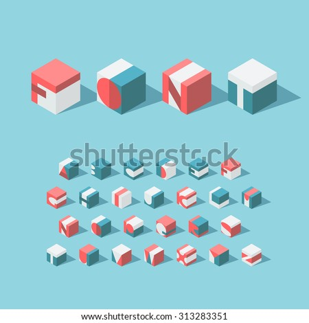 Vector isometric cubical alphabet. Latin typeface. No gradients and transparancy. Each letter can be used as logo or mark, for corporate and brand identity, or as an application icon.  - stock vector
