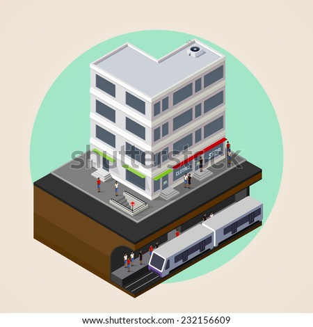vector isometric 3d illustration of city street, building and metro (subway or underground) station. rapid transit system. urban lifestyle concept.