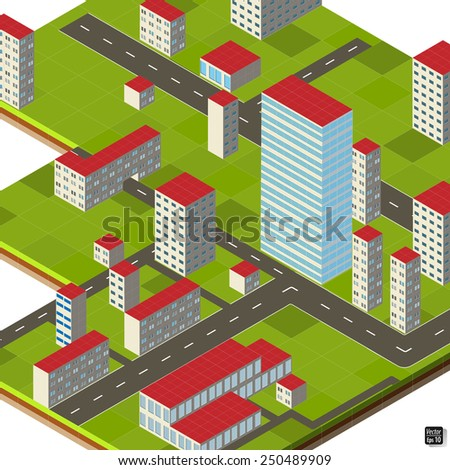 Vector isometric drawing of the city, the ability to change, on a white grid, eps 10