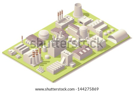 Vector isometric factory buildings and other industrial facilities set - stock vector