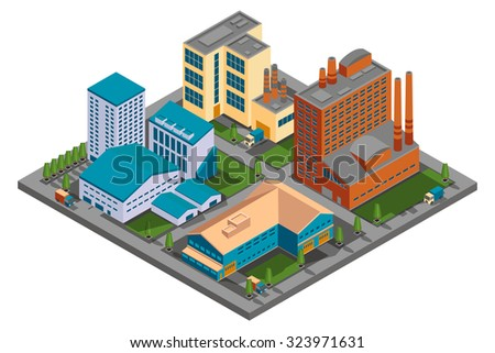 Vector isometric factory. Set of building industry, construction industrial plant illustrations