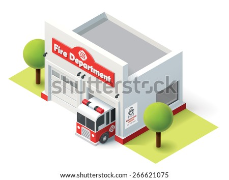 Vector isometric fire station building icon - stock vector