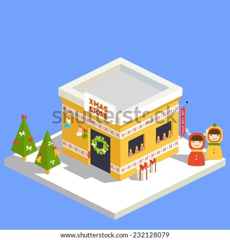 Vector isometric flat christmas store with trees and kids  - stock vector