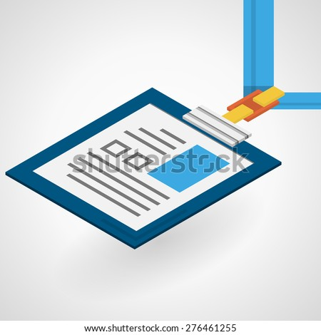 Vector isometric flat color design illustration of identity card with blue rope on gray background.
