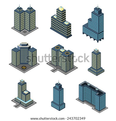 vector isometric flat style buildings skyscrapers - stock vector