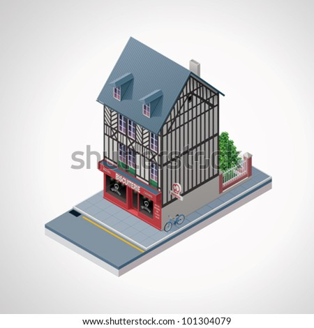 Vector isometric French cakes and cookies shop building