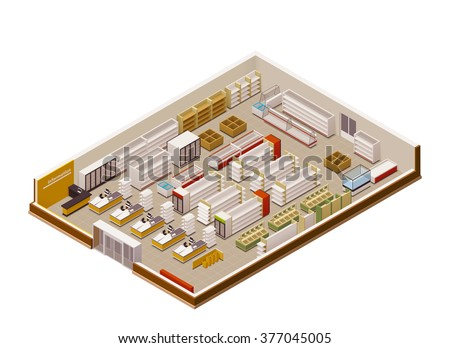 Vector isometric grocery store cross-section - stock vector