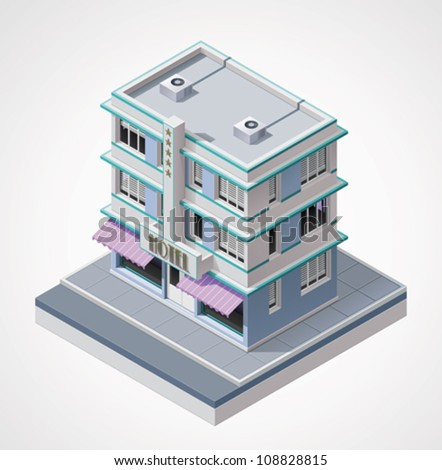 Vector isometric hotel - stock vector