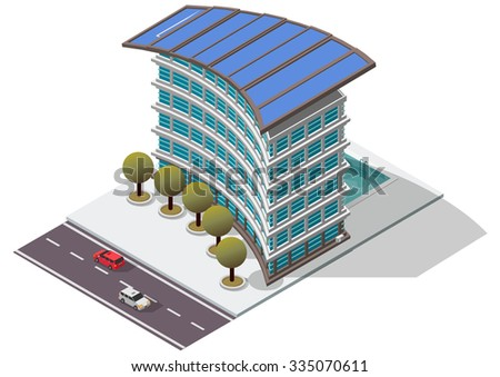 Vector Isometric Hotel Apartment Building for map - stock vector