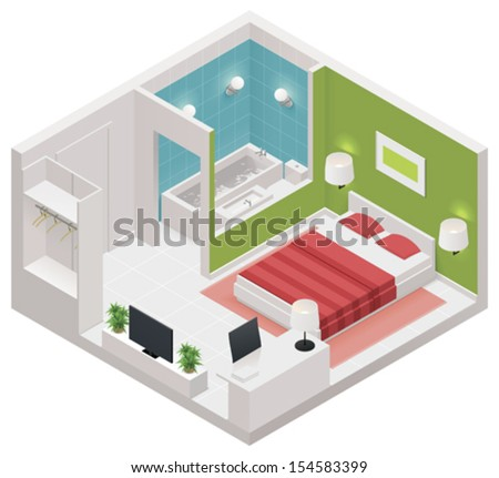 Vector isometric hotel room icon - stock vector