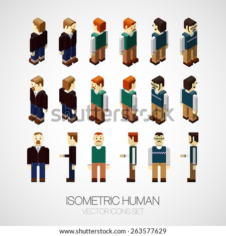Vector isometric human set. Icon vector illustration. For web or business design