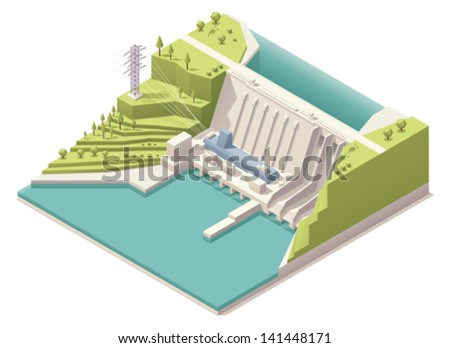 Vector isometric hydroelectric power station with power lines - stock vector