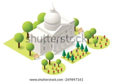 Vector Isometric icon or infographic element representing government capitol building. Statehouse with flowers and trees - stock vector