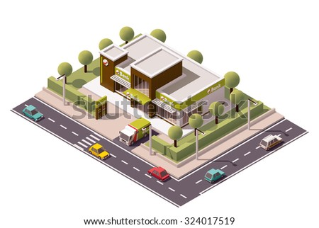 Vector isometric icon or infographic element representing low poly bank building with armored bank truck and bank services advertising sign - stock vector