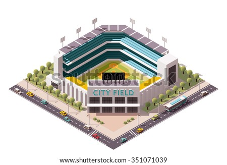 Vector isometric icon or infographic element representing low poly  baseball stadium with cars and buses on the street - stock vector