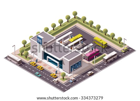 Vector isometric icon or infographic element representing low poly bus station terminal, intercity buses, nearby street and cars on the road - stock vector