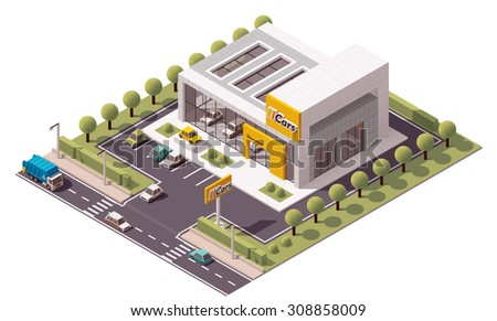 Vector isometric icon or infographic element representing low poly car official dealership building with new cars on display and advertising sign