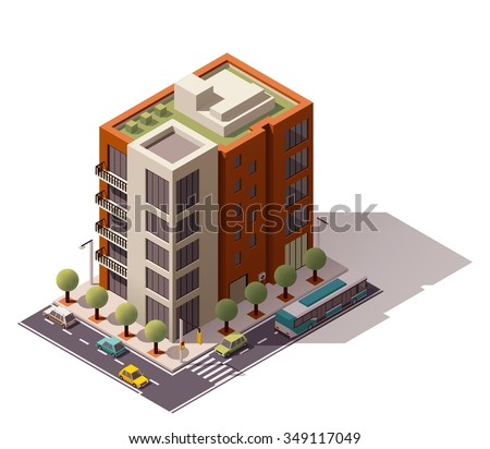 Vector isometric icon or infographic element representing low poly city building with cars and trees on the streets