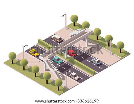 Vector isometric icon or infographic element representing low poly footbridge crossing on the road or street with cars passing by - stock vector