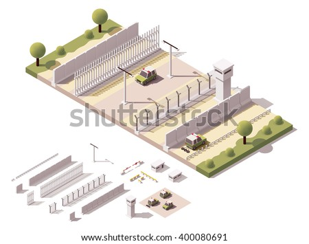 Vector Isometric icon or infographic element representing low poly guarded border fence, border guard patrol cars, barbed wire fences, security equipment and constructions