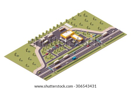 Vector isometric icon or infographic element representing low poly highway fuel filling station  - stock vector