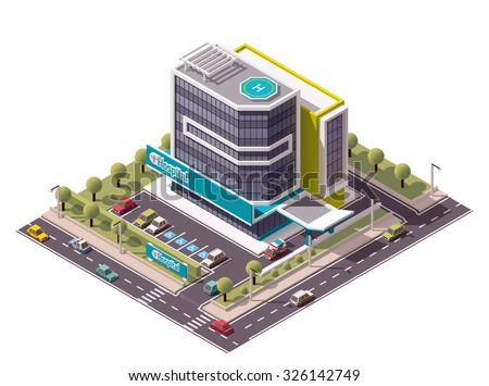 Vector isometric icon or infographic element representing low poly hospital building with ambulance van - stock vector