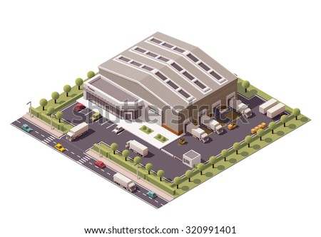 Vector isometric icon or infographic element representing low poly industrial warehouse building, forklifts unloading trucks on the backyard - stock vector