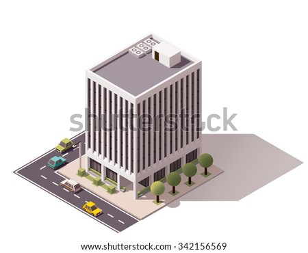 Vector isometric icon or infographic element representing low poly low poly city office building - stock vector