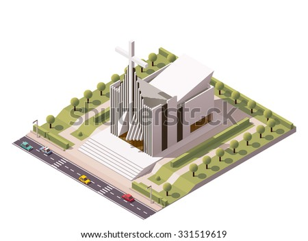 Vector isometric icon or infographic element representing low poly  modern Christian Protestant church