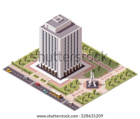 Vector isometric icon or infographic element representing low poly office building with monument in the park - stock vector