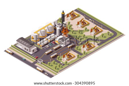 Vector isometric icon or infographic element representing low poly oil field plant with oil pumps, related industrial facilities loading semi-trucks tanks  - stock vector