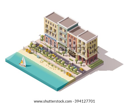 Vector Isometric icon or infographic element representing low poly old town street with tourism related buildings, stores, sea beach and yacht boat passing by - stock vector