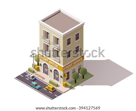 Vector isometric icon or infographic element representing low poly post office building, cars and trees on the street nearby