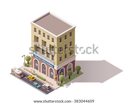 Vector isometric icon or infographic element representing low poly tourist information center building, cars and trees on the street nearby  - stock vector
