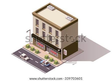 Vector isometric icon or infographic element representing low poly town or city building
