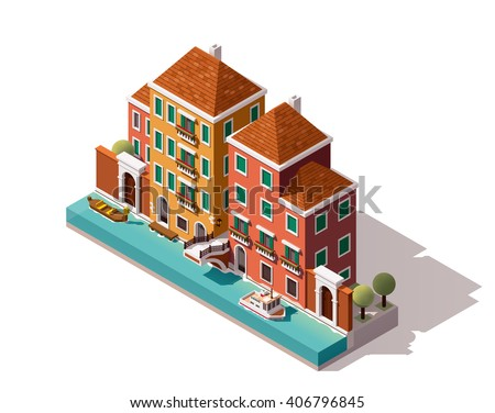 Vector isometric icon or infographic element representing low poly Venice (Italy) street with old buildings, gondola, bridge over the canal  - stock vector