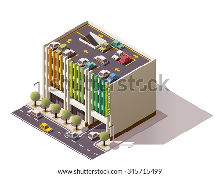 Vector Isometric icon or infographic element representing multi-storey car parking on the city street with street elements and cars - stock vector