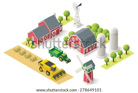 Vector Isometric icon or infographic element representing rural farm setting with tractor, combine harvester, house, mill, windmill, storage or warehouse and field - stock vector