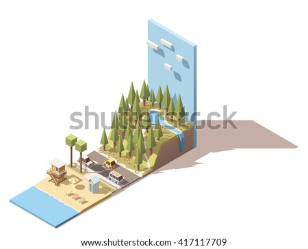 Vector Isometric icon or infographic element representing  sea beach near the mountain with forest and lake - stock vector
